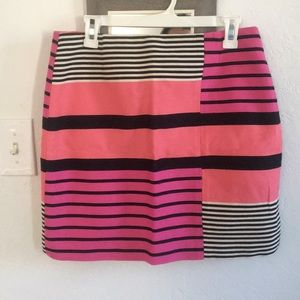 LOFT Pink fuchsia and black striped pencil skirt